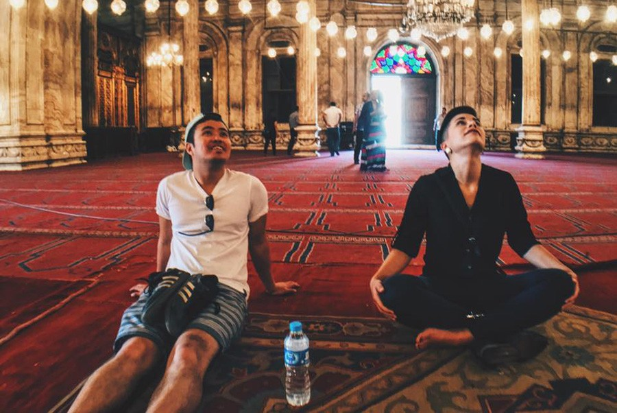 tourists  in the mosque