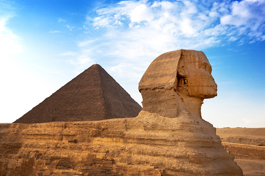 sphinx and pyramid